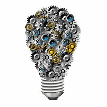 light bulb made from gears